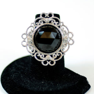 Leslie Greene Sterling Silver, Diamond, and Black Spinel Floral Ring, Size 6.25