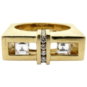 Gauthier 14k Gold Custom Carre and Round Diamond Ring Sz. 9