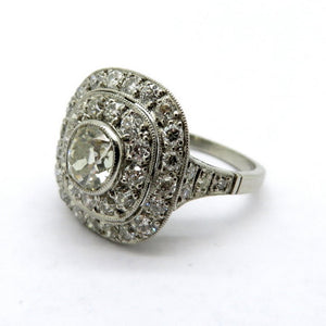 Antique Edwardian Style Halo Platinum Diamond Engagement Ring, Size 7