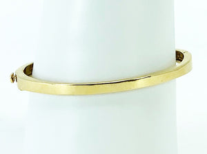 Round Brilliant Cut Channel Set Diamonds w/ Turqoise Inlay 14K Yellow Gold Bangle Bracelet
