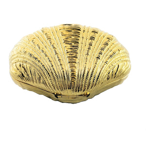 Judith Leiber Gold Venus Clamshell Minaudiere Novelty Clutch