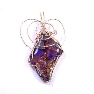 Pink and Purple Rainbow Color Stone Jewelry Pendant Charm