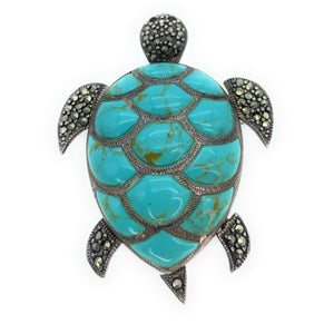 Vintage 1960's Sterling Silver, Turquoise, & Marcasite Turtle Brooch Pendant