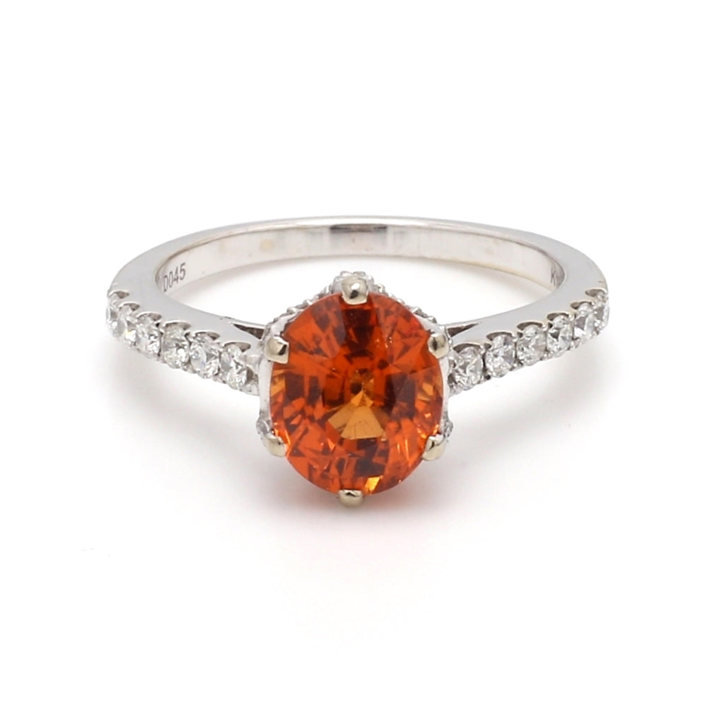 18K White Gold 2.68ct Mandarin Garnet & 0.45ctw Diamond Ring, Sz. 6.5