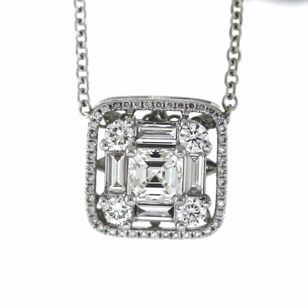 18K White Gold 1.20ctw Multi-Shape Diamond Pendant and Necklace