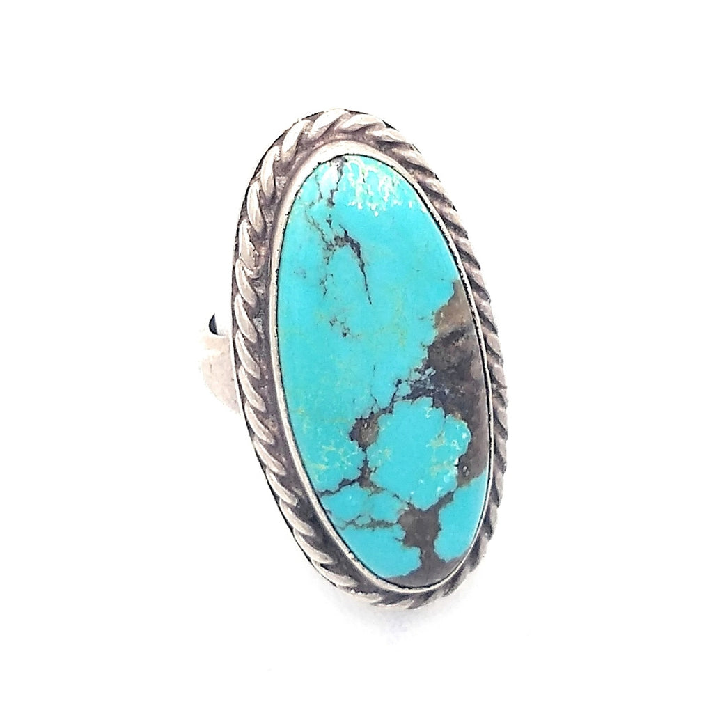 Signed Navajo Twist wire Silver & Turquoise Ring sz 7 1/2