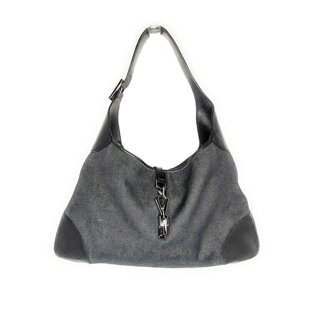 Gucci Black Denim Jackie Shoulder Bag Hobo