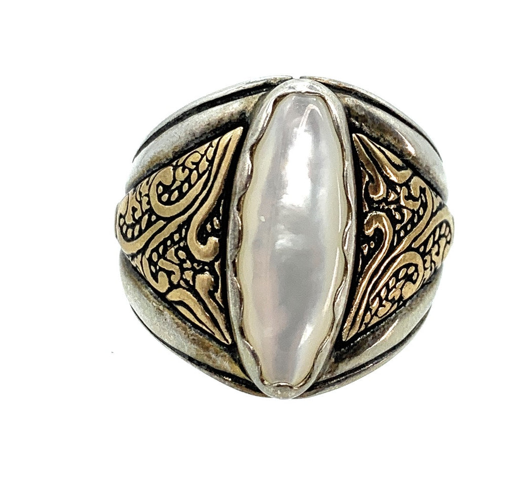 Sterling Silver, Brass, & Mother Of Pearl Men's Ring - Sz. 9.75