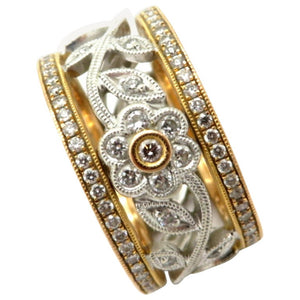 18 Karat Two-Tone Yellow and White Gold Flower Diamond Eternity Band Ring, Size 5