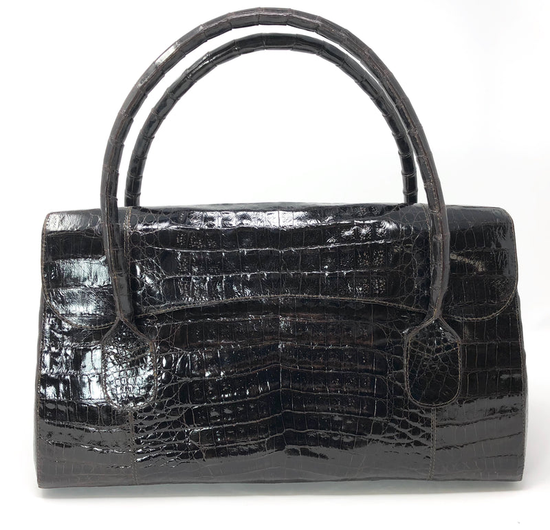 Nancy Gonzalez Brown Crocodile Magnetic Flap Satchel Bag