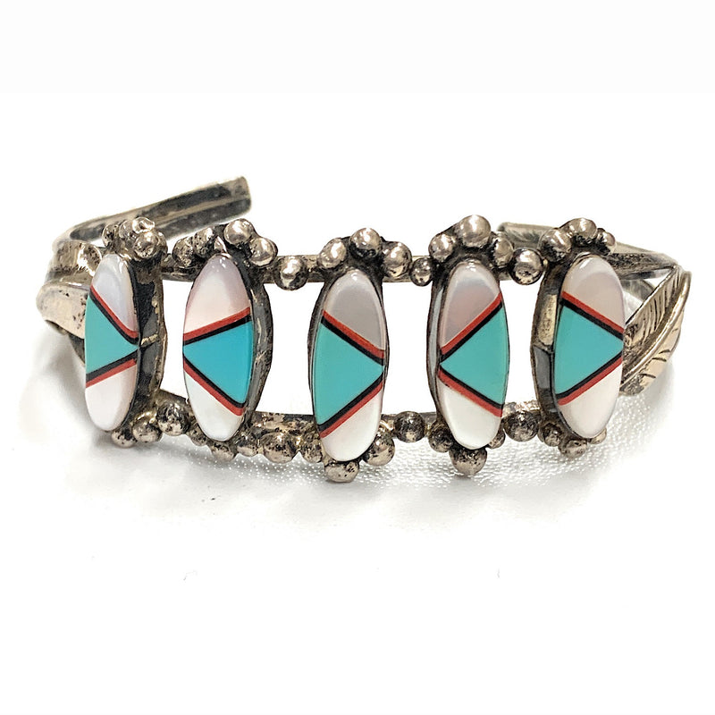 Vintage Hopi Sterling Silver 5 Station Multi-Stone Inlay Dual Shank Cuff Bracelet