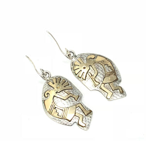 Native American Stamped DY Sterling Silver Kokopelli Earrings