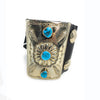 Native American Turquoise Sterling Silver Navajo Bow Guard Leather Cuff Bracelet