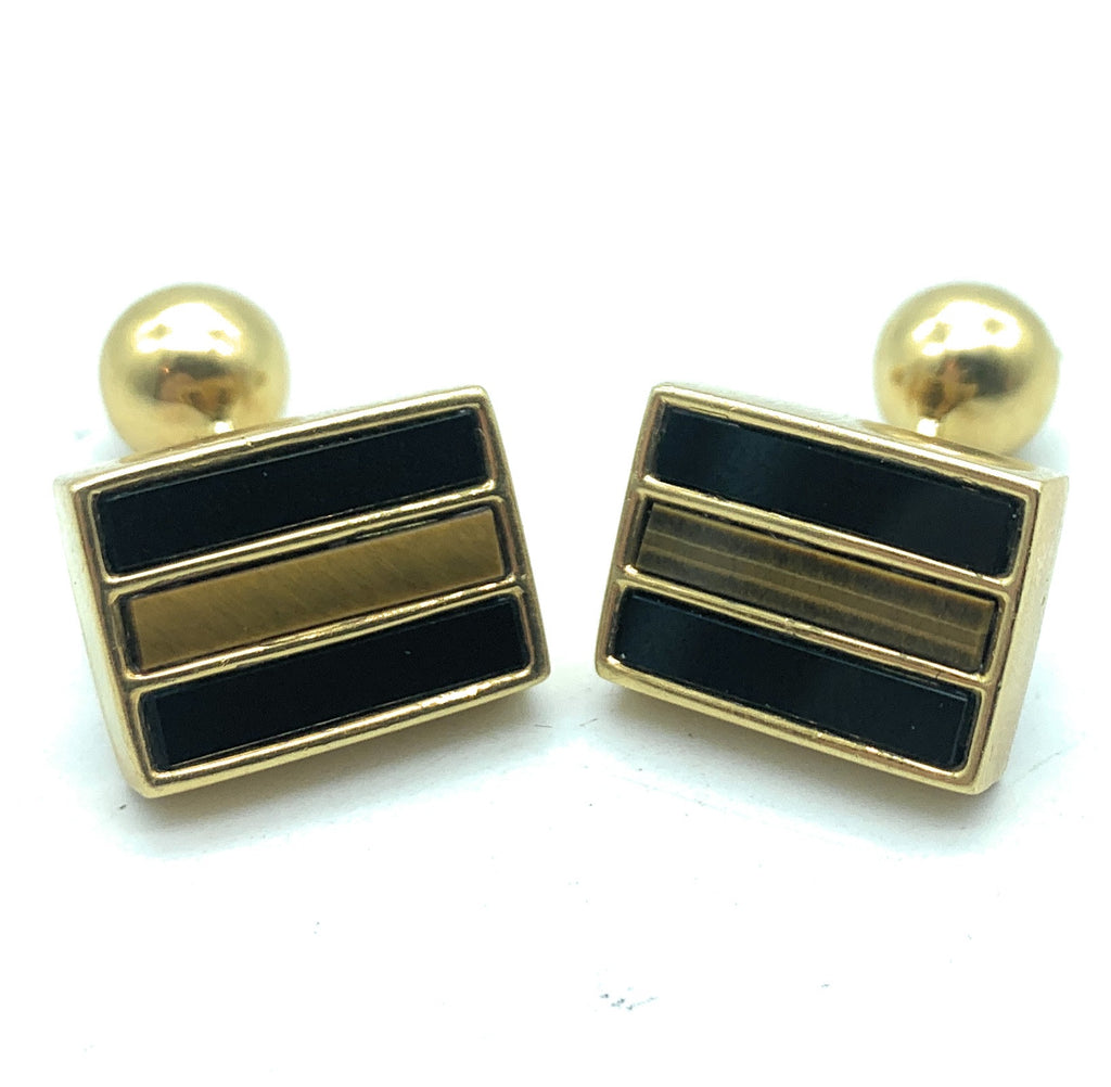 Tiffany & Co 18K Yellow Gold Tiger Eye and Onyx Inlay Cufflinks