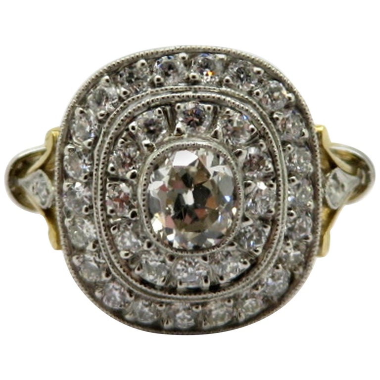 Antique Edwardian Style 18 Karat and Platinum Double Halo Diamond Ring, Size 7