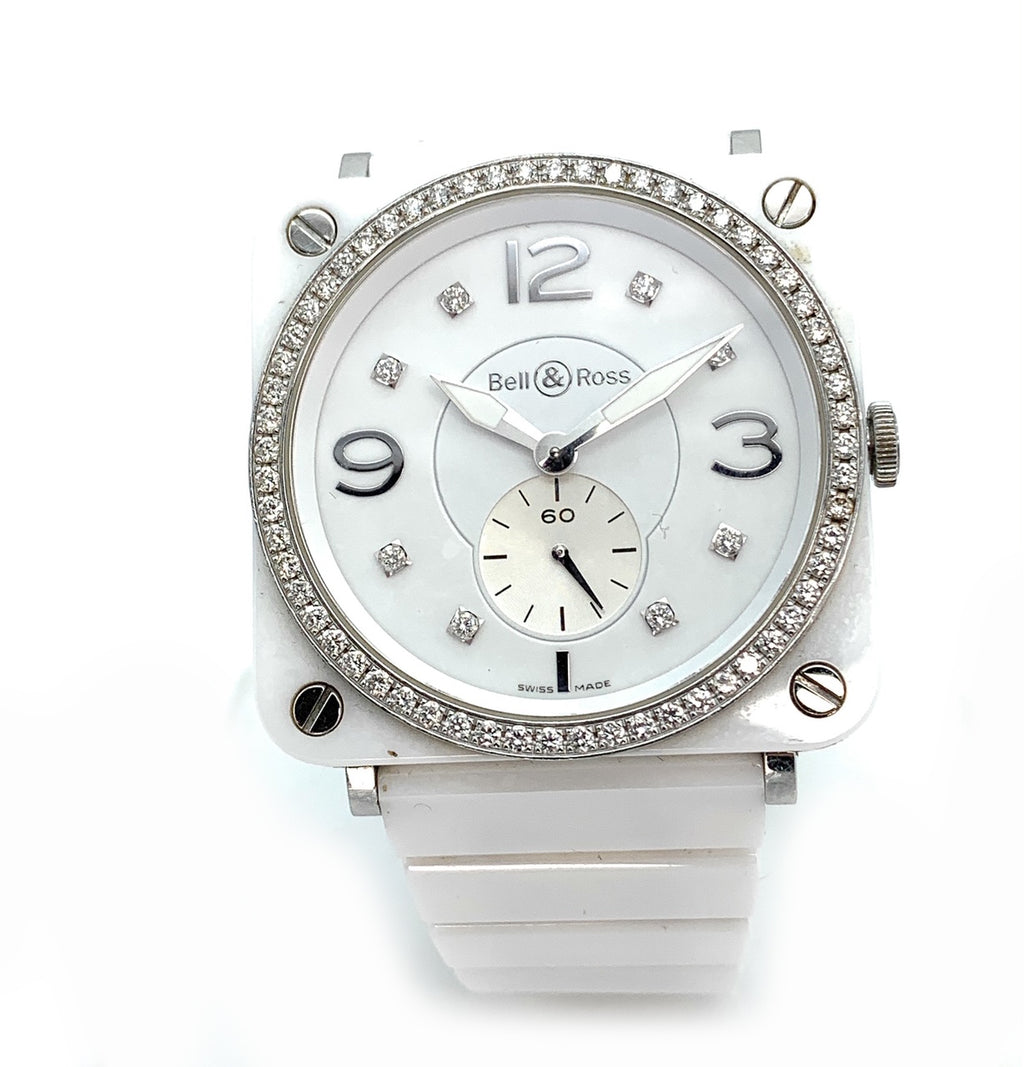 Bell & Ross Aviation Diamond White Ceramic Ladies 39mm Watch BRS-98-PWCD