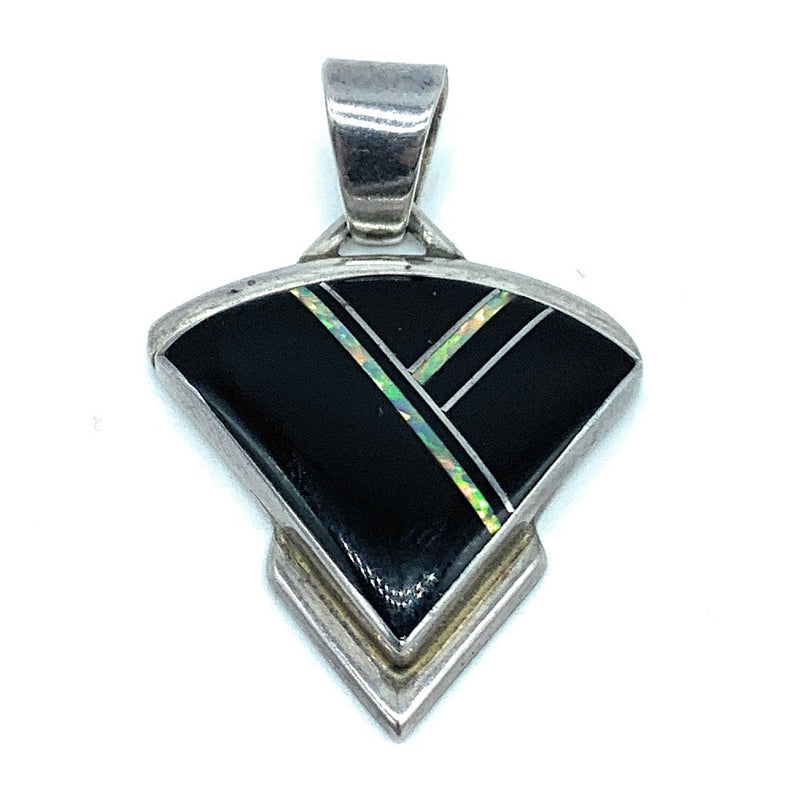 Vintage Navajo Sterling Silver Black Onyx & Fire Opal Inlay Pendant