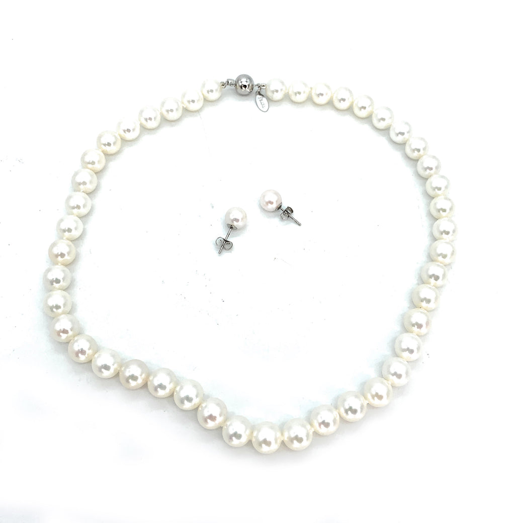 Vintage 14K White Gold & Cultured Pearl Necklace & Earrings Set