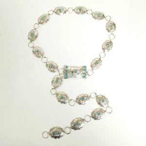 MP Yazzie Native American/ Southwest Sterling Silver and Turquoise Concho Belt