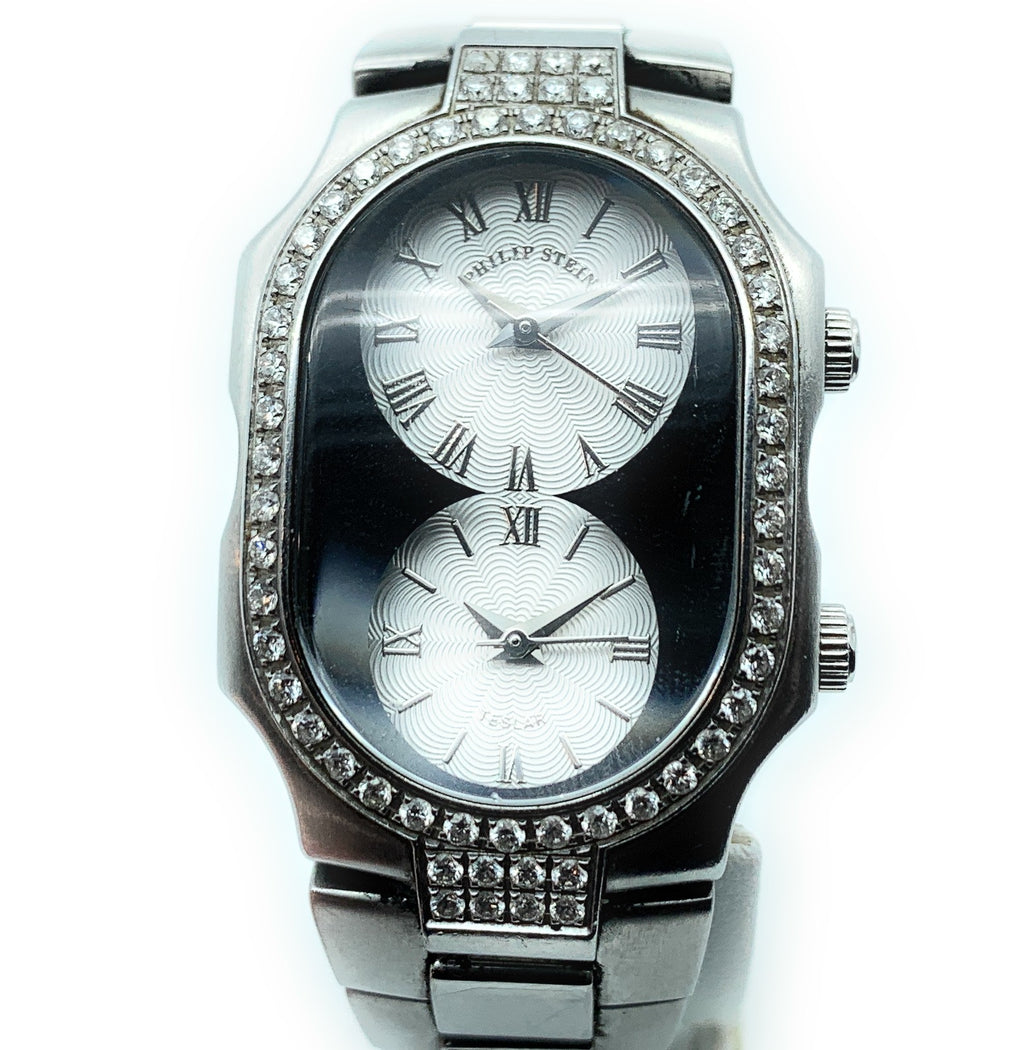 Philip Stein Teslar Two Time Zone MOP Dials & Diamonds Women's Watch
