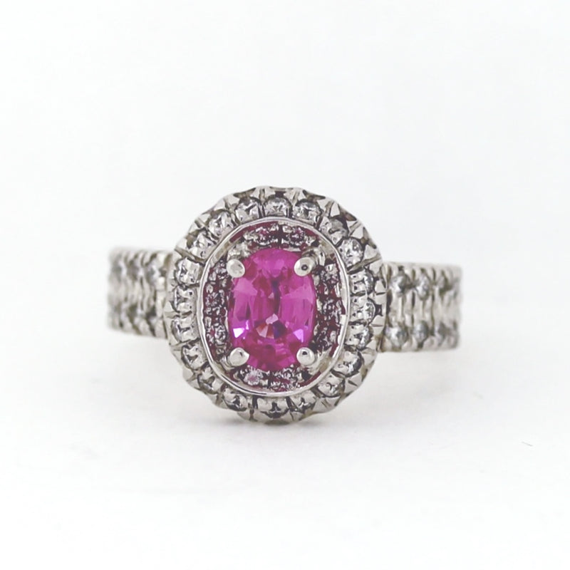 Designer Gregg Ruth 18KT White Gold Pink Oval Sapphire Round Diamond Halo Ring - Sz. 6.5