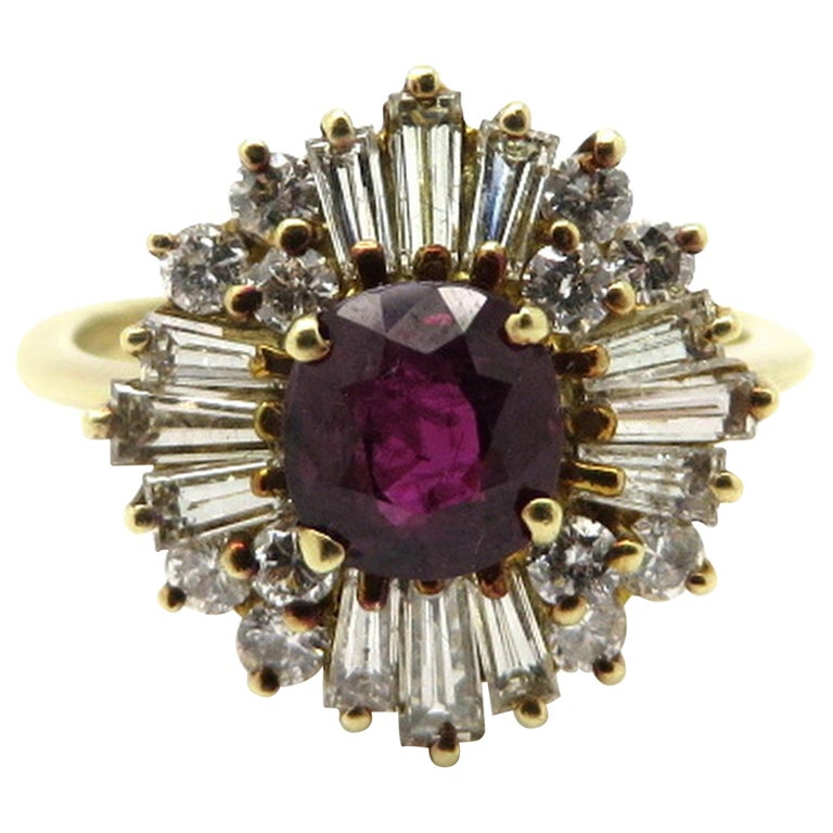 14K Yellow Gold Ruby and Diamond Ballerina Style Ring, Size 7.5