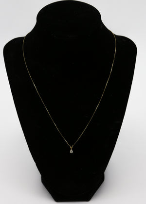 14K Yellow Gold Necklace with 0.20ctw Diamond Pendant