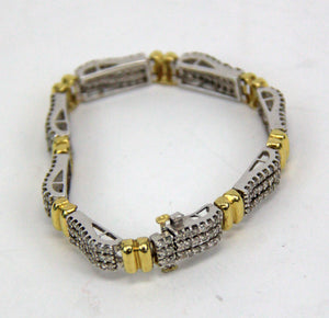 2.16ctw Natural Diamond 14k White and Yellow Gold Tennis 3-Row Bracelet
