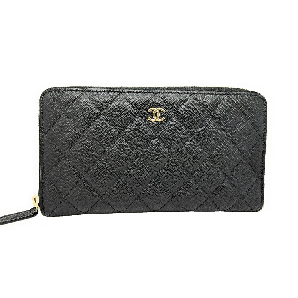 Chanel Black Classic Caviar Long Zipped Wallet
