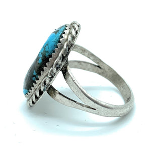 Vintage 1960's Old Pawn Split Shank Sterling Silver & Turquoise Ring