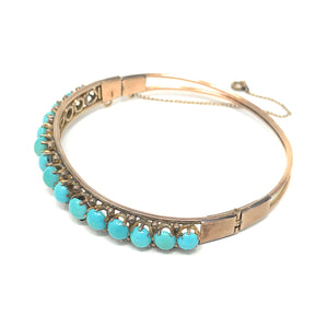Turquoise Cabochon Round 14K Rose Gold Bangle Bracelet size 7