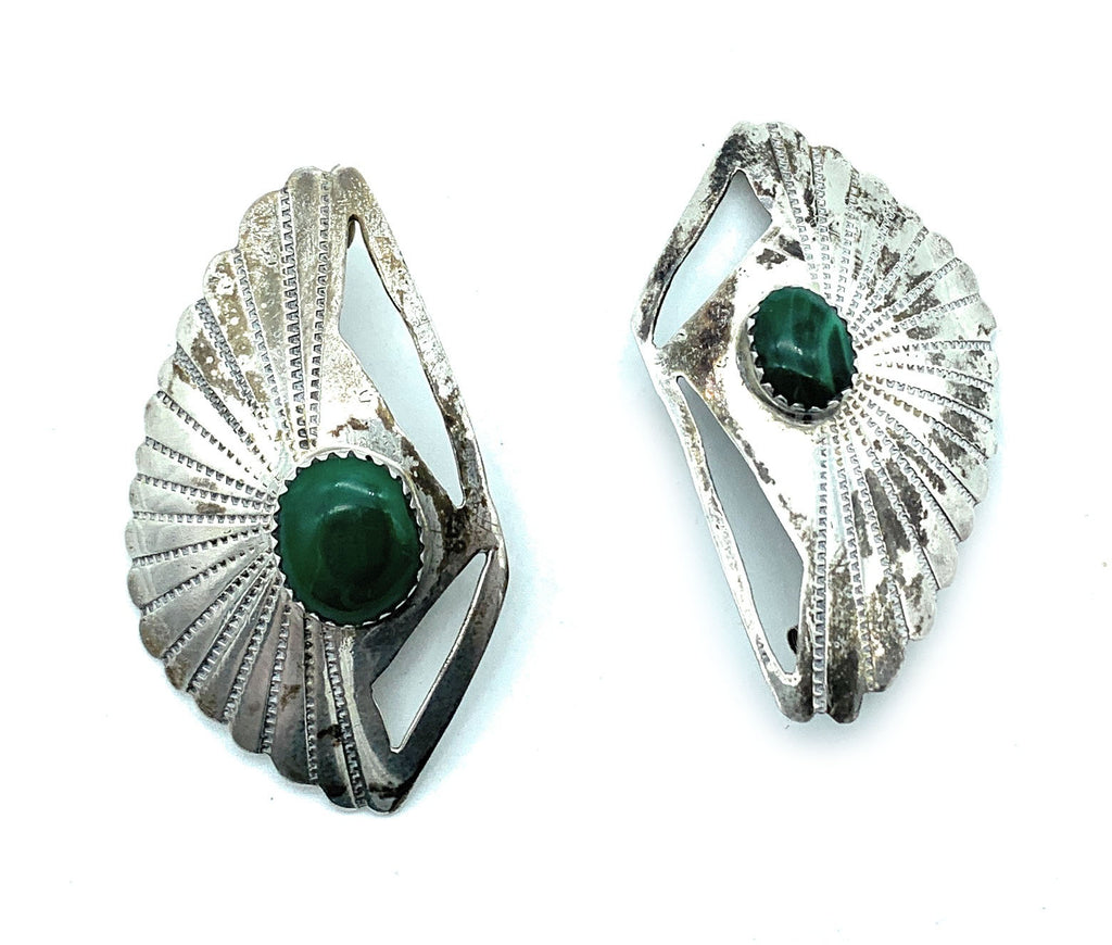 Vintage 1960's Zuni Sterling Silver & Malachite Post Earrings - Signed