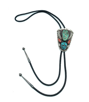 Vintage 1960's Navajo Sterling Silver, Turquoise, & Coral Bolo Tie