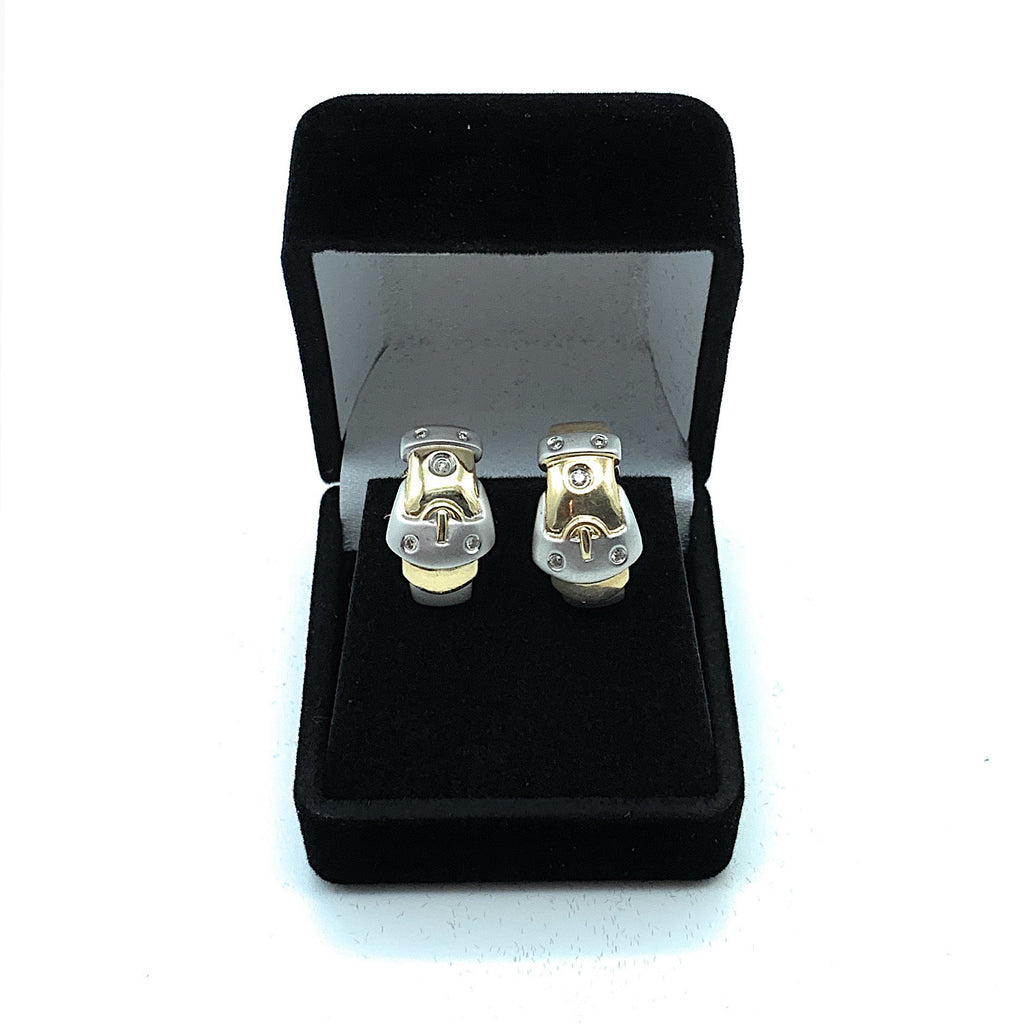 14K Yellow Gold 0.12ctw Round Brilliant Cut Diamond Buckle Earrings