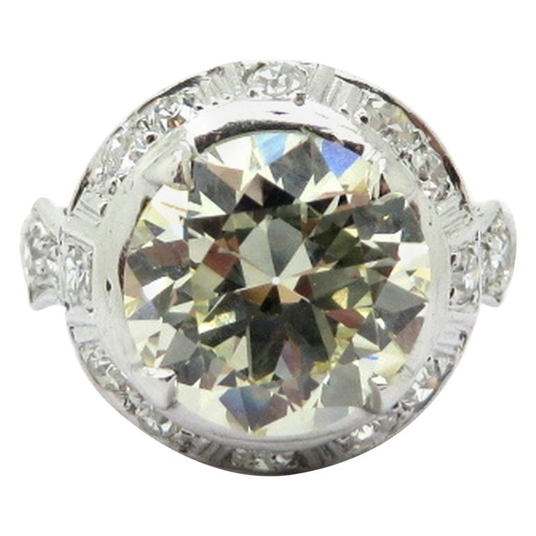 Platinum Art Deco Style Old European Cut 3.25 Carat Diamond Halo Engagement Ring, Size 6