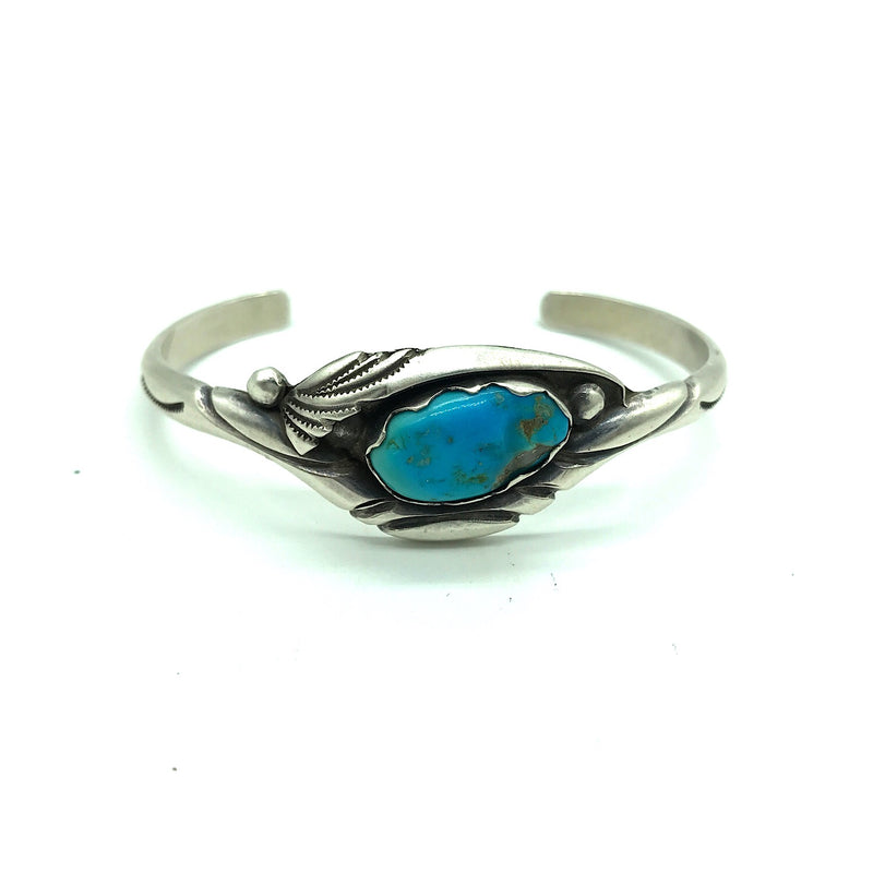 Native American Sterling Silver Turquoise Cuff Bracelet- Signed, Size 6
