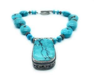 Vintage 1960's Navajo Sterling Silver Bead & Turquoise Choker - RARE!
