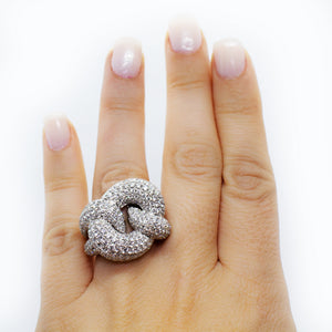 18K White Gold Knot style 6.50ctw Diamond Ring - Sz. 6.5