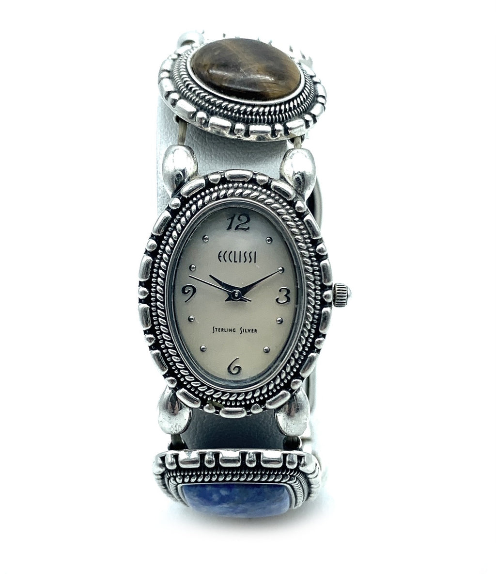 Ecclissi Sterling Silver Multi-Stone Concho Stretch Band Watch - 32511