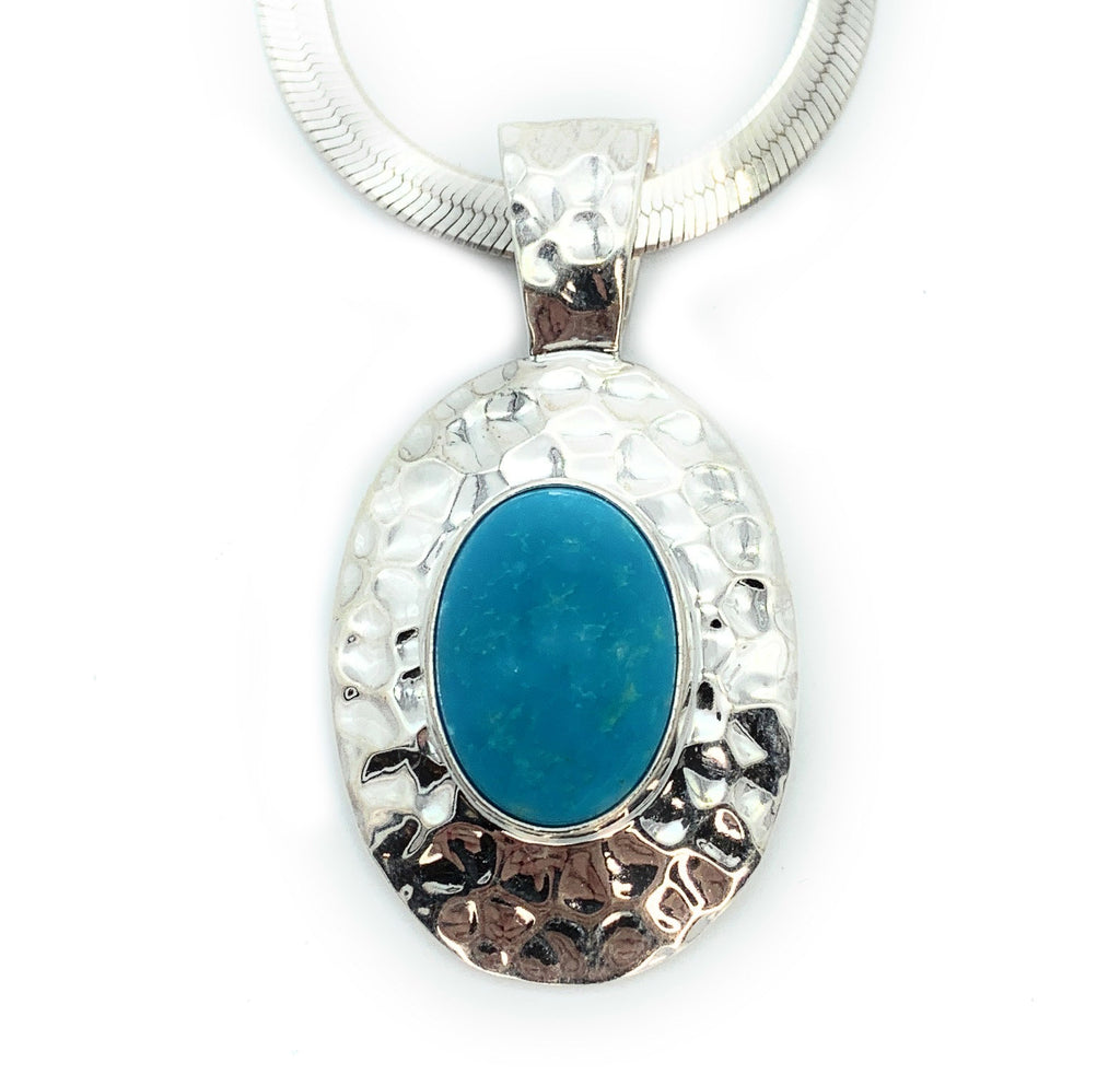 Old Pawn Sterling Silver & Sleeping Beauty Turquoise Pendant Necklace