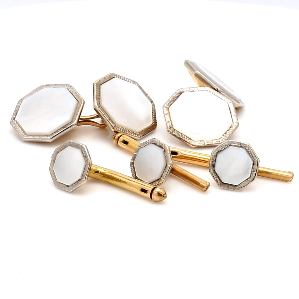 Vintage 14K Gold & Mother Of Pearl Inlay Tuxedo Stud & Cufflink 5pc. Set