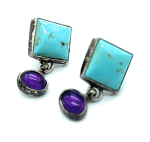 Vintage 1970's Navajo Sterling Silver Turquoise & Amethyst Dangle Earrings