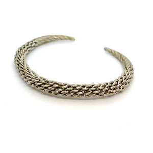 Vintage Silver Braided Cuff Bangle Size 6.5