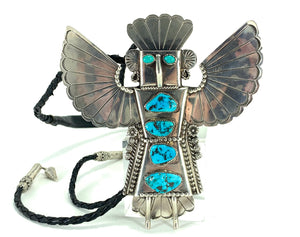 STUNNING Native American Eagle Dancer Sterling Silver & Turquoise Bolo Tie