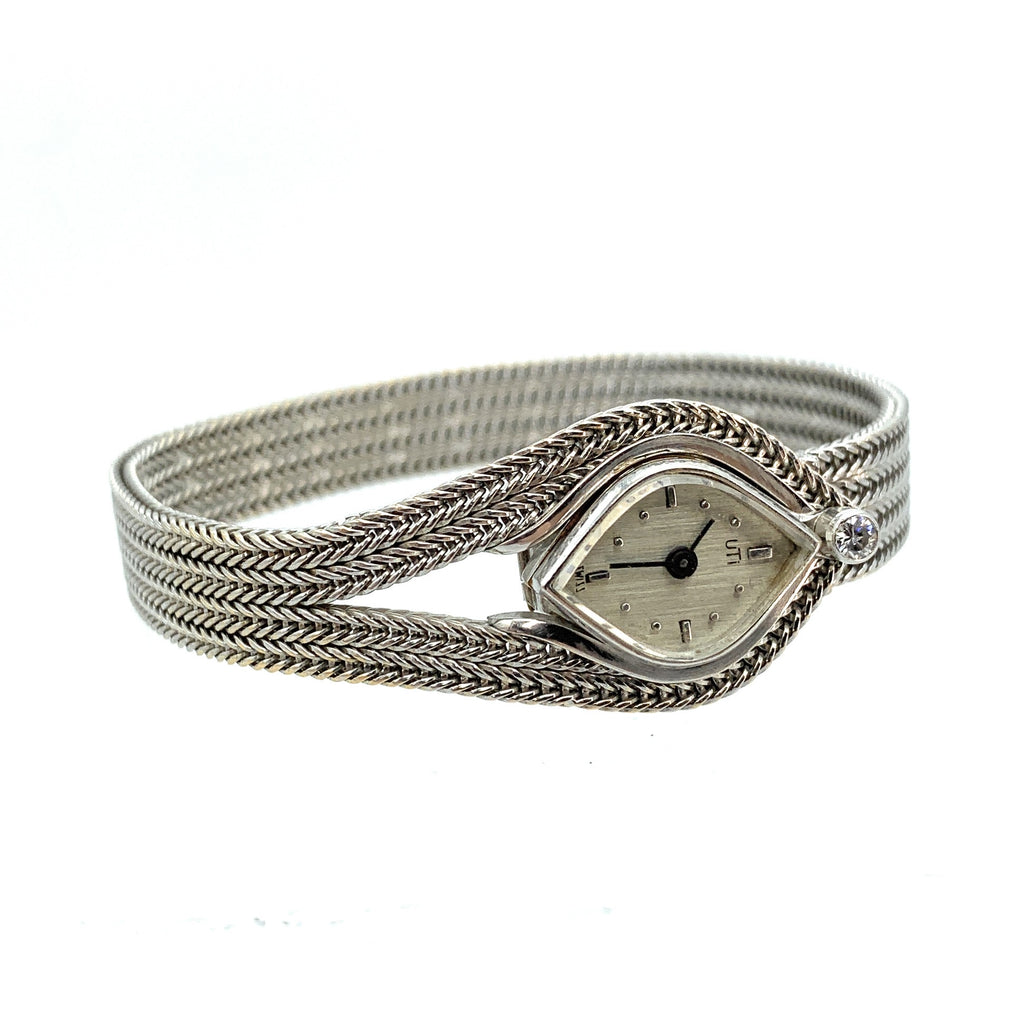 Vintage UTI 18K White Gold & Diamond Swiss Case Ladies Watch