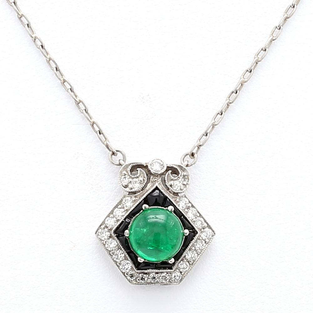 Platinum 1.13ct Vivid Green Emerald Pendant w/ 0.25ctw Diamonds