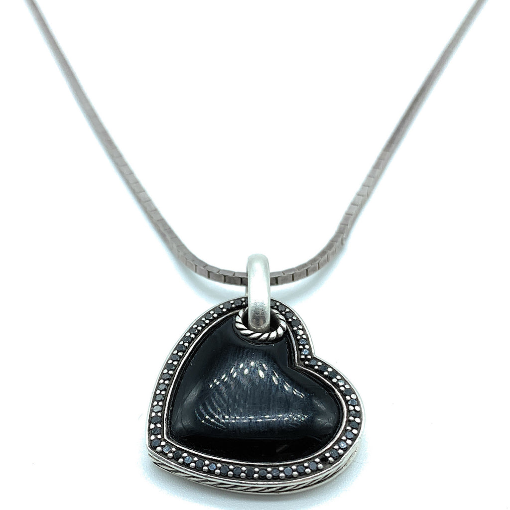David Yurman Sterling Silver Black Onyx & Pavé Diamond Heart Pendant Necklace