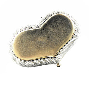 Judith Leiber Heart Shaped Swarovski Minaudiere Novelty Evening Clutch