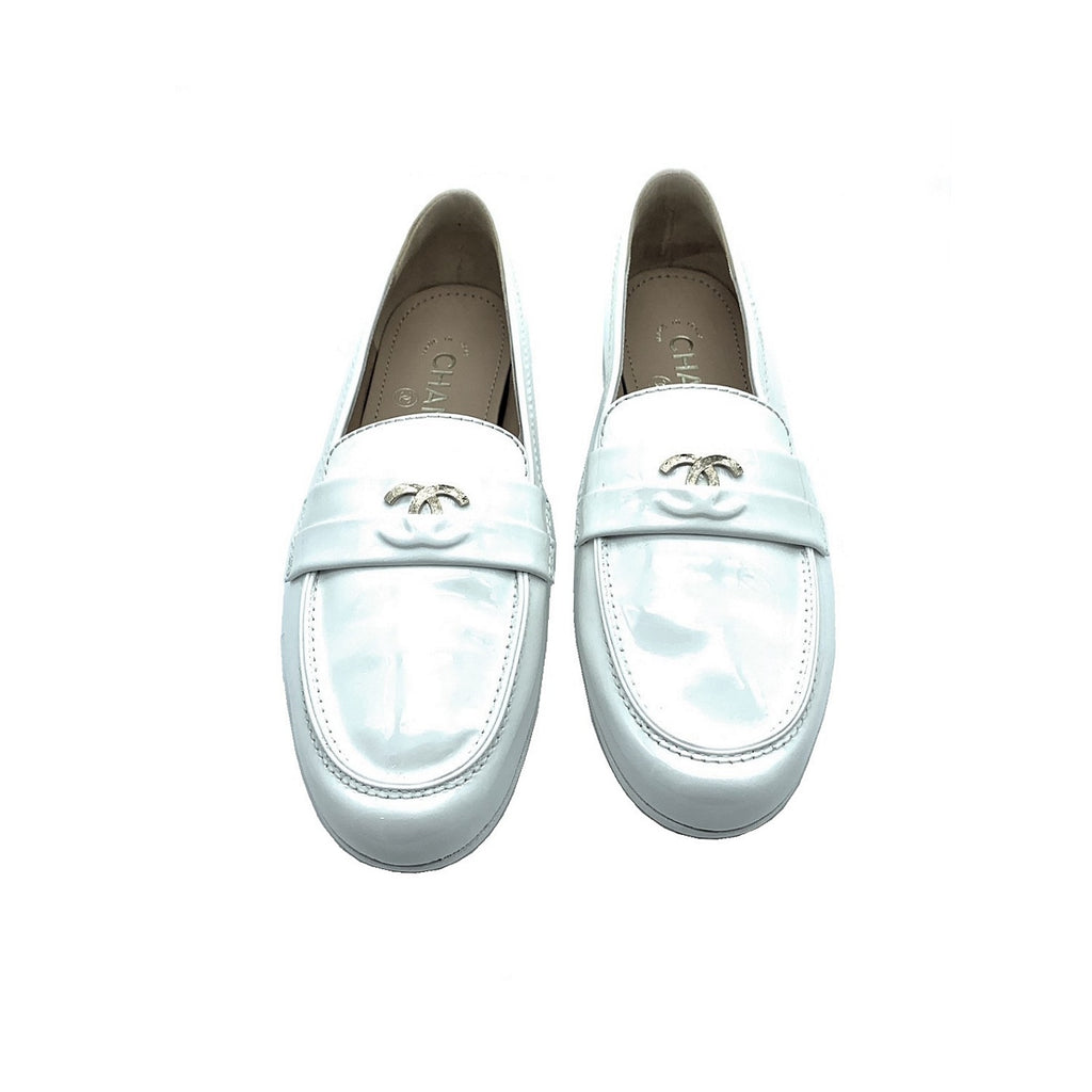 Chanel White Patent Leather CC Logo Women's Loafers - Sz. 37