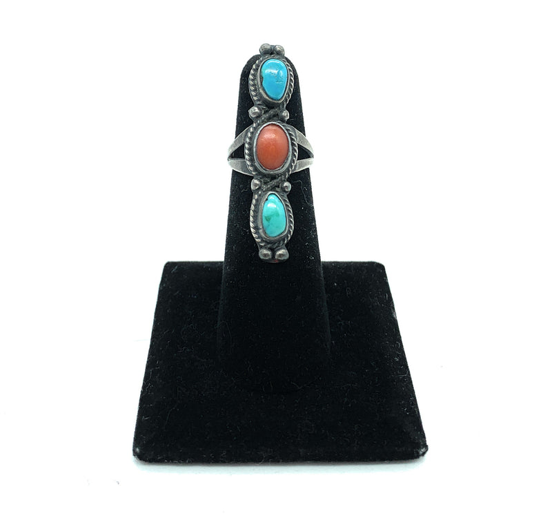 Vintage 1960's Navajo Split Shank Sterling Silver Turquoise & Coral Ring - Sz. 5